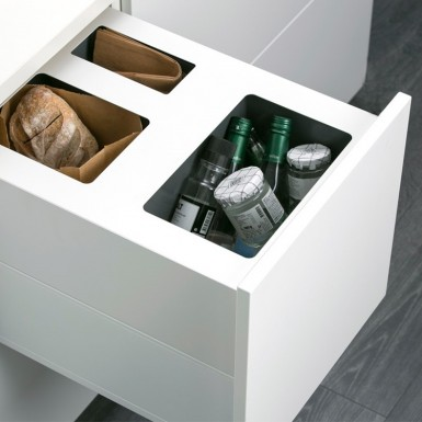 Ballingslöv Bänkskåp A4RSOP med 2 lådor och avfallshinkar
